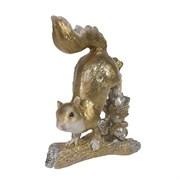 Фигура декоративная Белка на ветке цвет: золото L6W10H18см