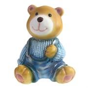 Фигура декоративная Медвежонок в синем свитере L10W11H14см