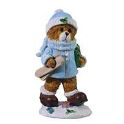 Фигура декоративная Мишка с лыжами цвет: голубой L8W6H16см