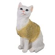 Фигура декоративная Кот в свитере цвет: золото L9W12H19см