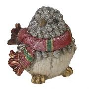Фигура декоративная Воробей в шарфике цвет: серебро L12W9H9см