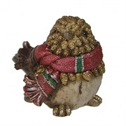 Фигура декоративная Воробей в шарфике цвет: золото L12W9H9см