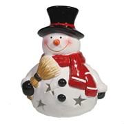 Фигурка декоративная  Снеговик с метлой с светодиодной подсветкой L15W14H16см