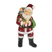 Фигура декоративная Санта держит щенка цвет: красный L11W14H29см