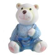 Фигура декоративная Медвежонок в голубом свитере L10W11H14см