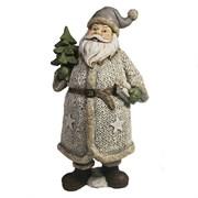 Фигура декоративная Дед Мороз в белом с елкой и подарком L11W10H21см