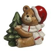 Фигура декоративная Медвежонок сидит с елкой L8W11H10см