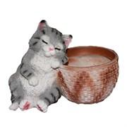 Кашпо декоративное Котенок спящий у корзины Н18см