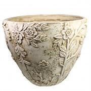 Кашпо декоративное Горшок украшенный цветами цвет: антик D36H26см