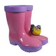 Кашпо декоративное Сапоги с птичкой розовые L17W13H18см