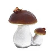Изделие декоративное Гриб белый двойной с бабочкой Н23см