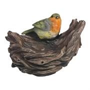 Изделие декоративное Кормушка-гнездо с птичкой L18W17H12см
