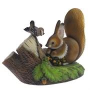 Фигурка декоративная Белочка с воробьем L30,5W17 Н24см