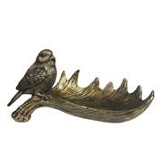 Подставка под мелочи Лосиный рог с птичкой L28W15H14см