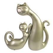 Композиция Кошек: малая L16.5W7H16см и большая L17W9H26.5см цвет: серебристо-бежевый
