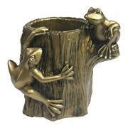 Изделие декоративное Лягушки на бревне цвет: золото L10W12.5H12см