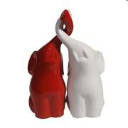 Фигура декоративная Пара слонов цвет: красный+белый глянец L6.5W12H16см