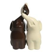 Фигура декоративная Пара слонов цвет: молочный+шоколад глянец L6.5W12H16см