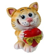 Копилка Котик с сердцем рыжий L9.5W9H13см