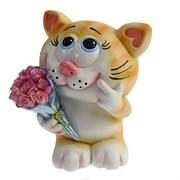 Копилка Влюбленный котик рыжий L11W9H13см
