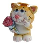 Копилка Влюбленный Котик рыжий чуб L11W9H13см