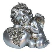 Фигука декоративная Ангел Сердце роз цвет: серебро L15W9H13см