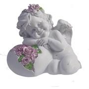 Фигурка декоративная Ангел Сердце роз цвет: белый L15W9H13см