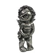 Фигура декоративная Счастливый ангелочек серебристый L7W8H18см