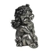 Фигура декоративная Ангелочек с божьей коровкой серебристый L10W9H15см