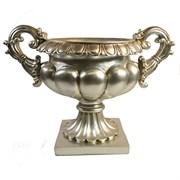 Чаша декоративная на подставке цвет: серебро L34.5W20.5H25 см