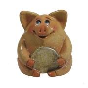 Фигура декоративная Свинка рубль бережет розоваяL4.5W5H5см
