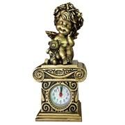 Композиция время Ангелочек с медведем цвет: сусальное золото Н24см.