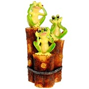 Фигура декоративная садовая Три лягушки на пеньках L23 W15 H45 см