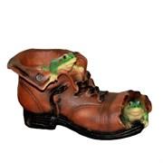 Кашпо декоративное Башмак с лягушками, L26 W15 H15 см