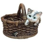 Кашпо декоративное Котёнок в лукошке с мышкой L26W22.5H19см