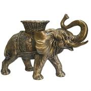 Фигура декоративная Слон с кашпо на спине цвет: золото L65W32H47см