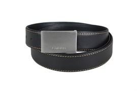 Ремень Кросс (Cross) Pamplona Black, односторонний, кожа гладкая, цвет чёрный с бежевой строчкой, 126 х 3 см