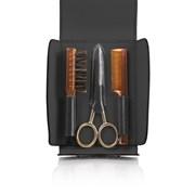 Набор для усов и бороды: в черном чехле щетка, расческа и ножницы Mondial SV-075-BAF-N